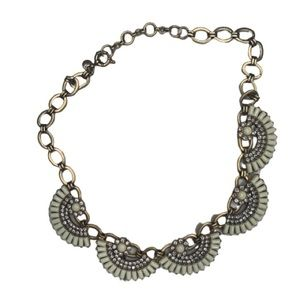 J.Crew Cream and Silver gems Deco Fan Necklace